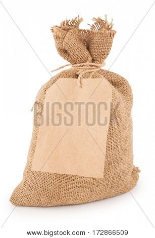 canvas sack with tag