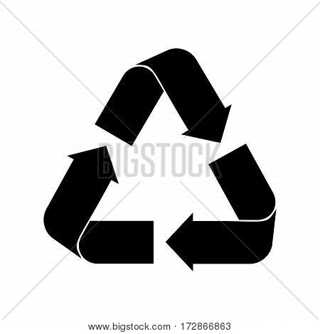 Recycle sign in black color - isolated on white background
