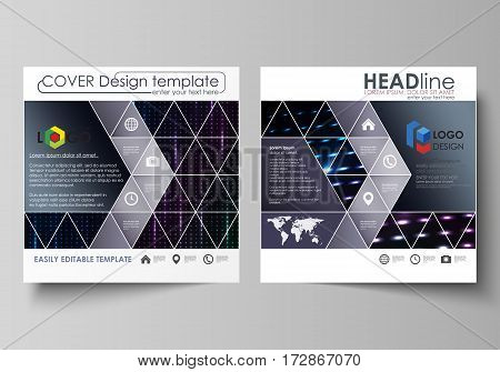 Business templates for square design brochure, magazine, flyer, booklet or annual report. Leaflet cover, abstract flat layout, easy editable vector. Abstract colorful neon dots, dotted technology background. Glowing particles, led light pattern, futuristi