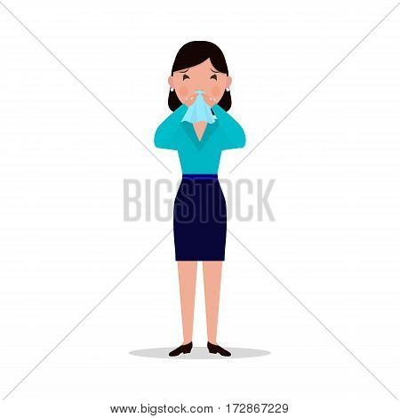 Vector illustration of a cartoon woman caught a cold, sneezing, ill. Isolated white background. Girl has flu, sneeze, spring allergies. Flat style. Woman allergic sneezing into a handkerchief.