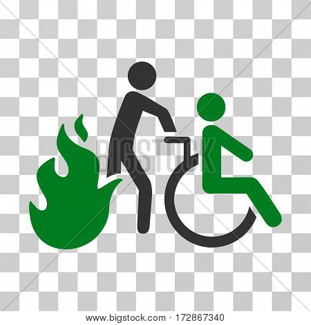 Fire Patient Evacuation vector pictograph. Illustration style is flat iconic bicolor green and gray symbol on a transparent background.