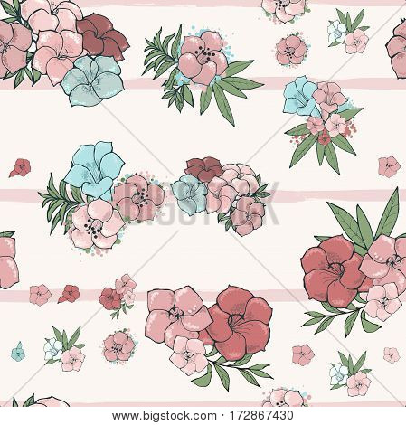 Vector light seamless pattern. Exotic beautiful pink and blue flowers on striped background. Floral wallpaper. Hand drawn illustration.