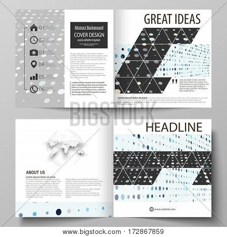 Business templates for square design bi fold brochure, magazine, flyer, booklet or annual report. Leaflet cover, abstract flat layout, easy editable vector. Abstract soft color dots with illusion of depth and perspective, dotted technology background. Mul