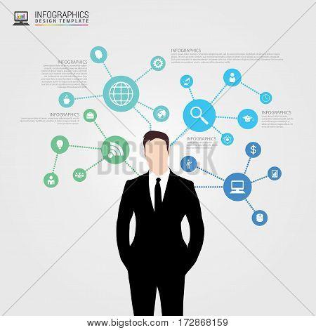 Businessman in suit. Infographics design template. Vector illustration