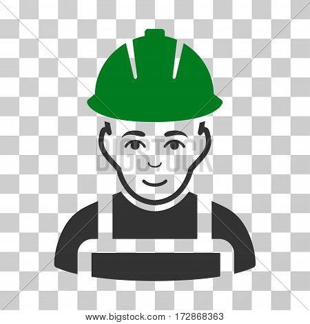 Glad Worker vector pictograph. Illustration style is flat iconic bicolor green and gray symbol on a transparent background.