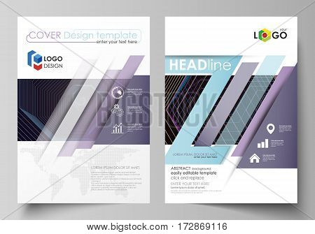 Business templates for brochure, magazine, flyer, booklet or annual report. Cover design template, easy editable vector, abstract flat layout in A4 size. Abstract polygonal background with hexagons, illusion of depth and perspective. Black color geometric