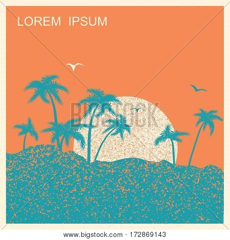 Tropical Island With Palms And Sun.vector Nature Landscape Poster Illustration