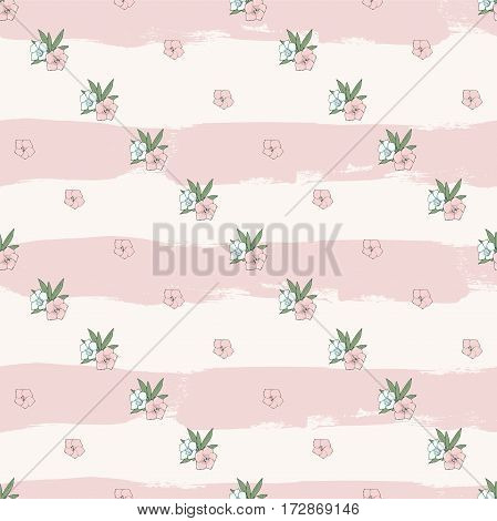 Vector gentle seamless pattern. Diagonal rows of pink and blue flowers on striped background. Floral art. Digital or wrapping paper. Textile design