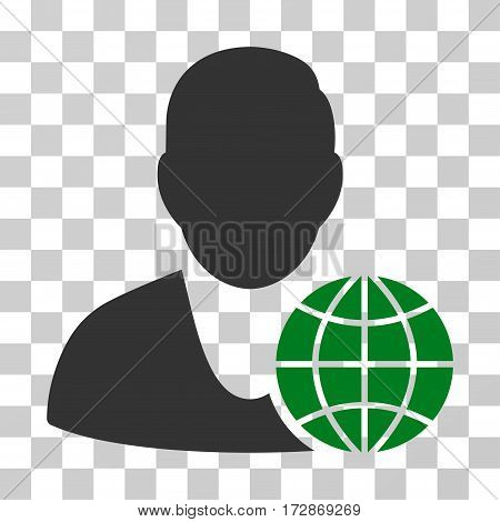 Global Manager vector pictograph. Illustration style is flat iconic bicolor green and gray symbol on a transparent background.