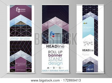Set of roll up banner stands, flat design templates, abstract geometric style, modern business concept, corporate vertical vector flyers, flag layouts. Abstract polygonal background with hexagons, illusion of depth and perspective. Black color geometric d