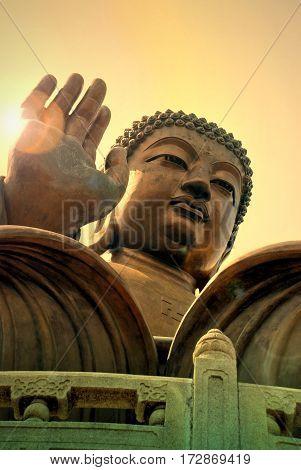 Tian Tan Buddha or Giant Buddha statue at Po Lin Monastery Ngong Ping Lantau Island Hong Kong China