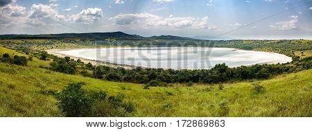 Panoramic view of Queen Elizabeth salt lake, Uganda