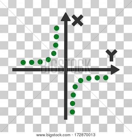 Hyperbola Plot vector pictogram. Illustration style is flat iconic bicolor green and gray symbol on a transparent background.