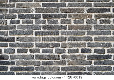 Closeup black and white brick wall texture background