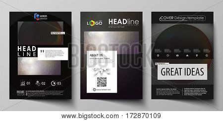 Business templates for brochure, magazine, flyer, booklet or annual report. Cover design template, easy editable vector, abstract flat layout in A4 size. Dark color triangles and colorful circles. Abstract polygonal style modern background.