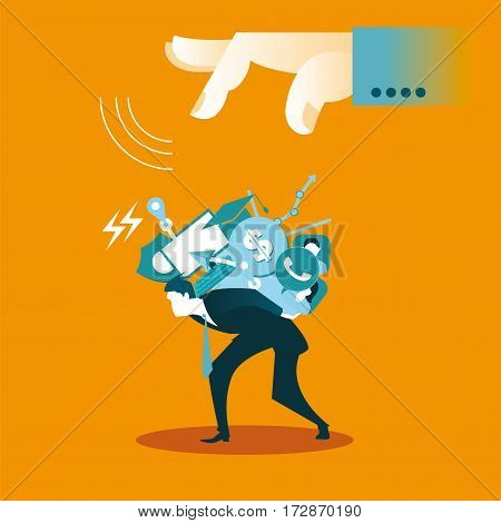 Loads employee more work and problems. Business concept. Vector illustration