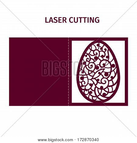 Vector illustration. Template for laser cutting. Easter egg. Decorative element. Greeting card.