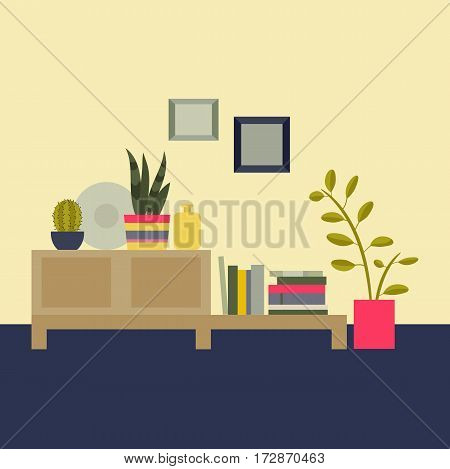 Vector illustration. Interior living room. Bookcase, potted plants, vases, paintings, decorative objects. The elements for graphic design. Flat style.