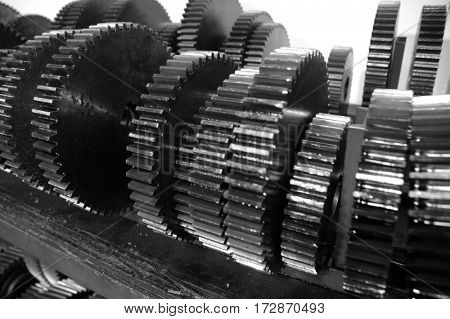 Detail row or stee metal gears for use in machines machinery