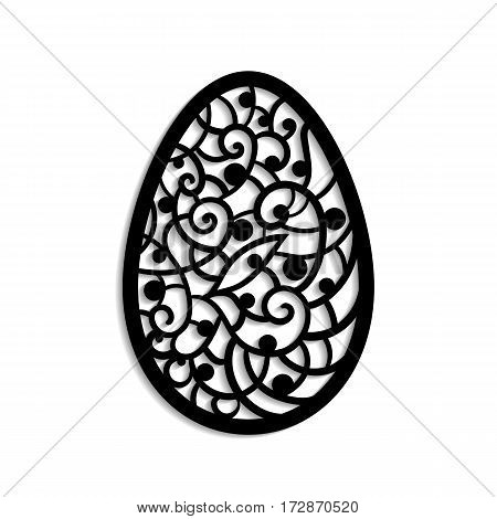 Vector illustration. Template for laser cutting. Easter egg. Decorative element.