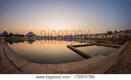 Fish Eye View From The Ghats At Pushkar, Rajasthan, India. Temples, Buildings And Ghats On The Holy