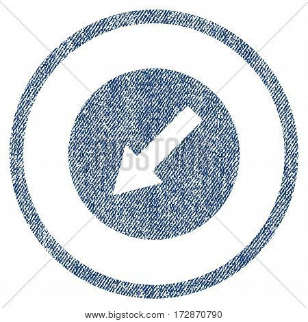 Down-Left Rounded Arrow vector textured icon for overlay watermark stamps. Blue jeans fabric vectorized texture. Symbol with unclean design. Blue ink rubber seal stamp with fiber textile structure.