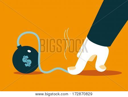 hand to stop the explosion of dollar. Preventing. Vector illustration