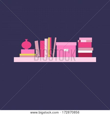 Vector illustration. Bookshelf. Home library. Element for graphic design. Flat style.
