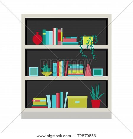 Vector illustration. Bookcase. Home library. Element for graphic design. Flat style.