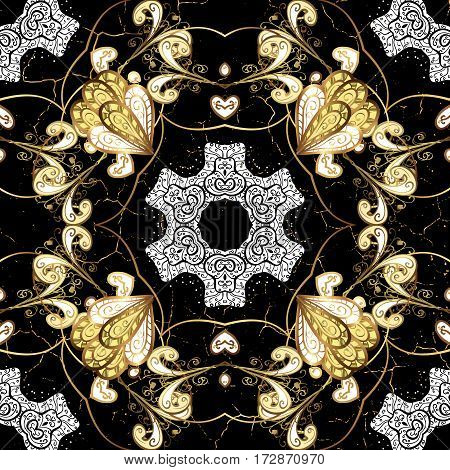 Oriental classic golden pattern. Vector abstract background with repeating elements. Black on background.