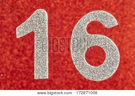 Number sixteen white color over a red background. Anniversary. Horizontal