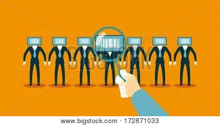 I found the right person with barcode. Business concept. Vector illustration