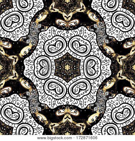 Golden pattern. Vector oriental ornament. Golden pattern on black background with golden elements.