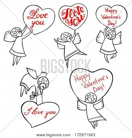 Valentine's Day angels set with cute hand drawn lettering. I love you inspirational quote. Cupids with red hearts. Doodle characters for selebration cards and design
