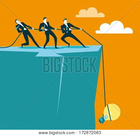 pull a idea out of the abyss. Vector illustration