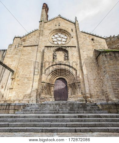Old Romanesque Cathedral of Plasencia Caceres Spain. West facade