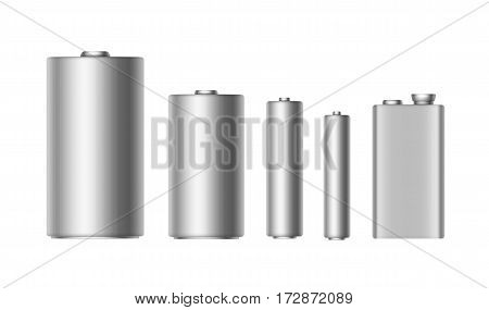 Vector Set of Gray Silver Metallic Glossy Alkaline Batteries Of Diffrent size AAA, AA, C, D, PP3 and 9 Volt Battery for branding Close up Isolated on White background
