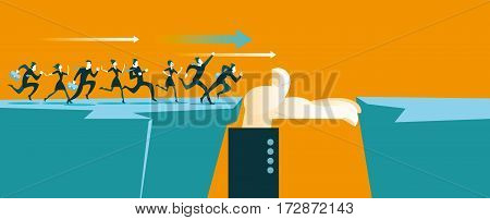 Hand helps to cross the chasm. Business concept. Vector illustration