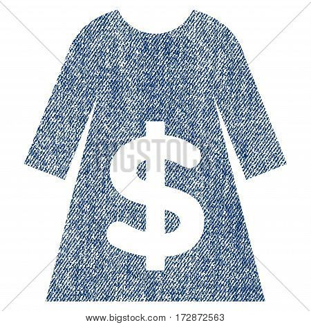 Dress Sale vector textured icon for overlay watermark stamps. Blue jeans fabric vectorized texture. Symbol with dirty design. Blue ink rubber seal stamp with fiber textile structure.