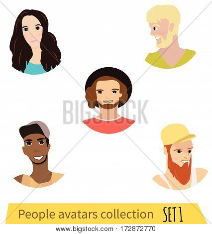 People avatars collection. People characters- stock vector