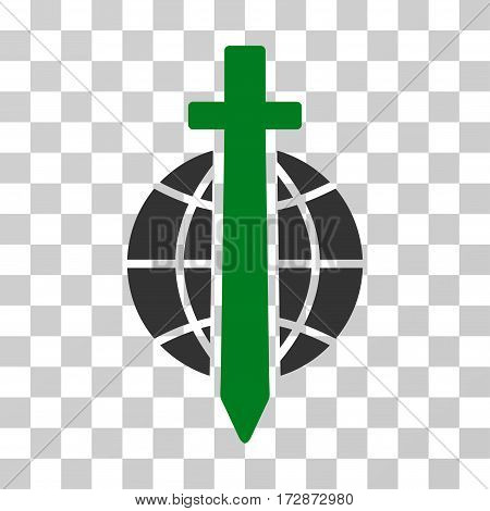 Sword Globe vector icon. Illustration style is flat iconic bicolor green and gray symbol on a transparent background.