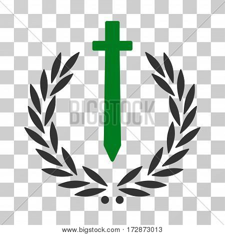 Sword Honor Embleme vector pictogram. Illustration style is flat iconic bicolor green and gray symbol on a transparent background.