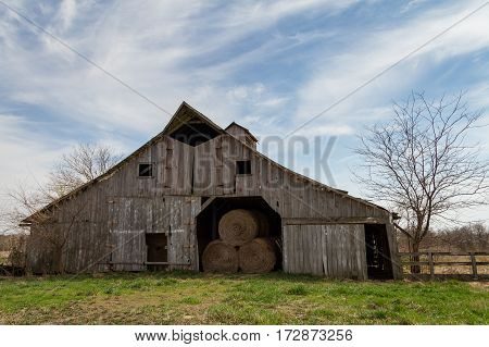 Barn in the midwest used to store hay and other items in.