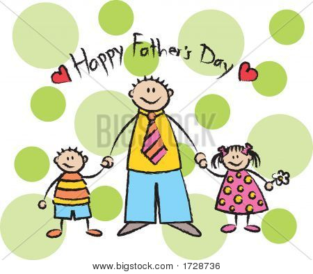 Happy Father'S Day - Caucasian / Asian Family