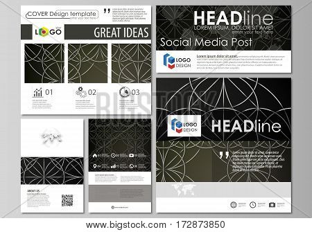 Social media posts set. Business templates. Easy editable abstract flat design template, vector layouts in popular formats. Celtic pattern. Abstract ornament, geometric vintage texture, medieval classic ethnic style.