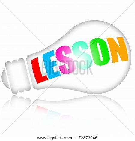 Lesson concept with electric lamp and colorful letters isolated on white background