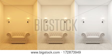 3000 4200 6400 kelvin temperature colours 3d rendering image