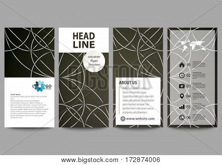 Flyers set, modern banners. Business templates. Cover design template, easy editable abstract vector layouts. Celtic pattern. Abstract ornament, geometric vintage texture, medieval classic ethnic style.
