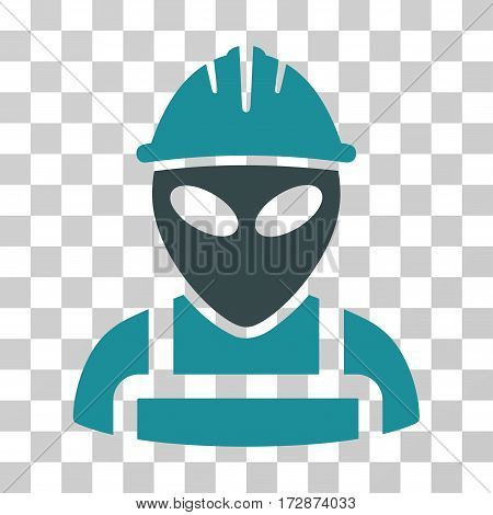 Alien Worker vector pictograph. Illustration style is flat iconic bicolor soft blue symbol on a transparent background.