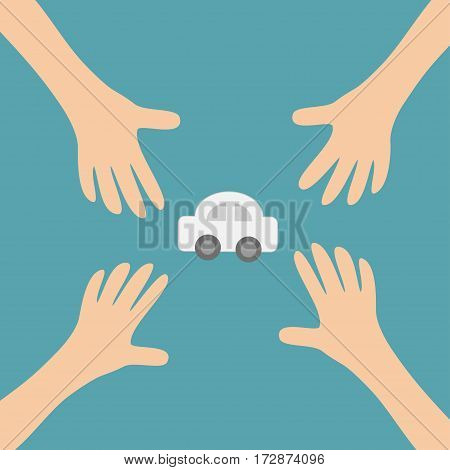 Four Hands arms reaching to cartoon auto car automobile sign symbol. Taking hand. Close up body part. Business card. Flat design. Wealth concept. Blue background. Isolated. Vector illustration